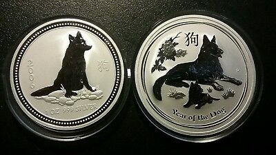 Australia 2006 And 2018 Year Of The Dog 1 Dollar  1 Ounce Each Silver Rounds