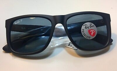 28d2e00fd3 Ray Ban Justin RB4165 622 2V Black Rubber   Dark Blue Polarized 55mm  Sunglasses