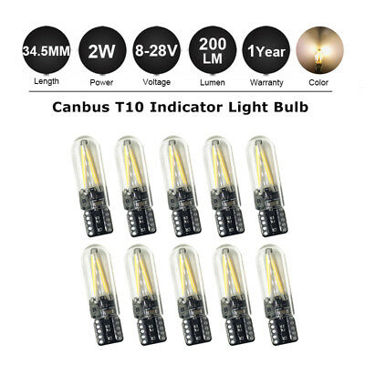 10 X T10 501 LED Wedge Bulbs W5W 194  Warm White License Plate Light  COB Canbus