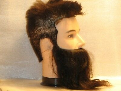 Lifesize BURMAX Real Human Hair MANIKIN HEAD male full Beard/Mustache pre owned