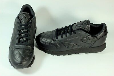 d9069f778b4a9 REEBOK CLASSIC LEATHER Quilted All Black Women s Shoes AR1263 Q size ...
