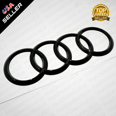 AUDI Gloss Black Trunk Luggage Lid Rings Badge Logo Emblem Decoration Modified