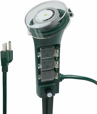 Century Outdoor Yard Stake with Mechanical Built-In Timer, 6 Grounded Outlets