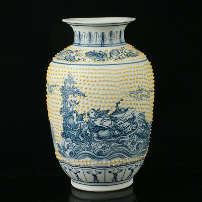 China Porcelain Hand Painted The Eight Immortals Vase W Qianlong Mark R1086