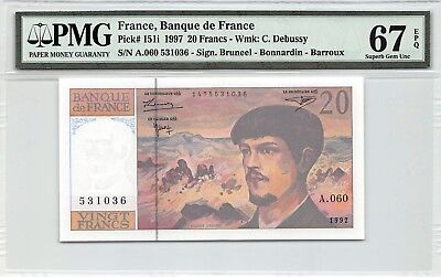 France 1997 P-151i PMG Superb Gem UNC 67 EPQ 20 Francs