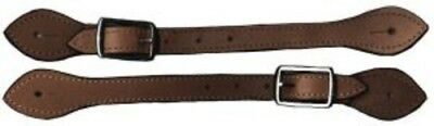 Brown Leather Spur Straps with Edge Stitching