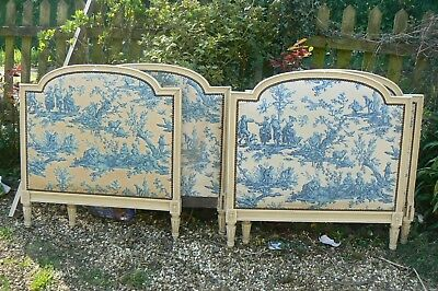 Rare Pair Antique French Original Toile Jour Fabric Painted Single Day Beds