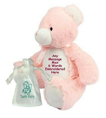 """Personalised Teddy Bear 15"""" Tooth Fairy Friend + Pouch Birthday New Baby Gift"""