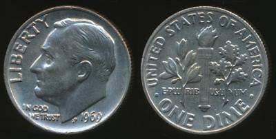 United States, 1969 Dime, Roosevelt - Uncirculated