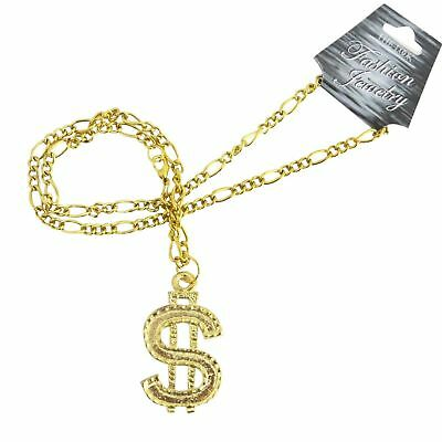 Dollar Sign Necklace Gangster Pimp Hip Hop  gangs Fashion Pendant Chain Gold