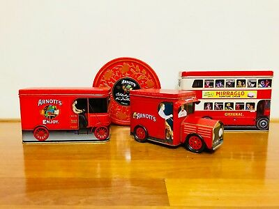 4 x Arnotts Red Truck Biscuit Tin