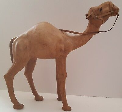 "Vintage Handmade Leather Wrapped Camel W/ Glass Eyes and Halter 15"" X 13"" X 3.5"""