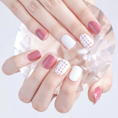 24 x New Sweet Student Girls Style Short Fake False Nails Art Tips Stickers Glue