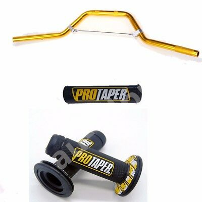 """22mm Gold Handlebar Bar Pad 7/8""""+ Hand Grips For Pit Dirt Bike Motocycle Scooter"""