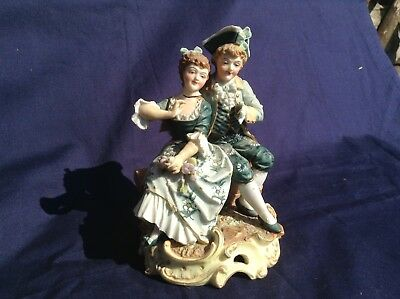 Antique Bisque Continental Figure Group.....courting Couple A/f