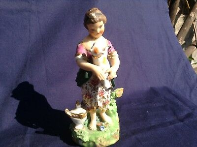 Antique Derby Figure....girl With Dog