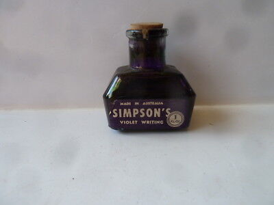 SIMPSON'S 1 FL OZ INK BOTTLE, VIOLET WRITING. Made in Australia.