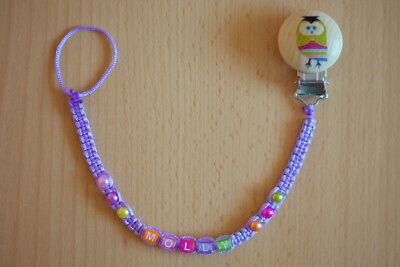 LILAC Personalised dummy clip chain pacifier holder soother holder with any name