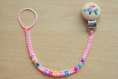 PINK Personalised dummy clip chain pacifier holder soother holder with any name