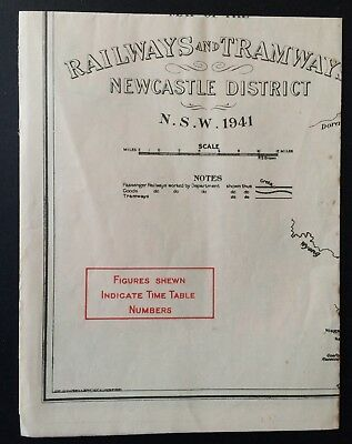 Map - Railways & Tramways of Sydney District & Newcastle District - 1941