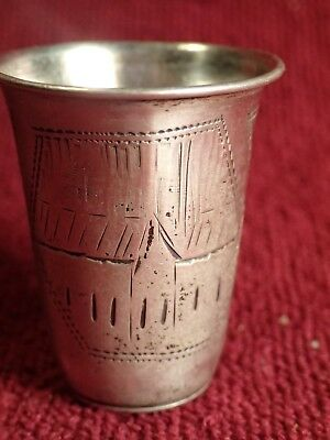 NICE 14.62 g ANTIQUE SILVER 84 CARVED IMPERIAL RUSSIA RUSSIAN VODKA CUP VINTAGE