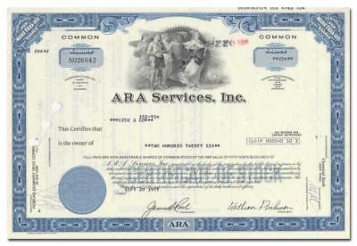 ARA Services, Inc. Stock Certificate (Food Service Provider to the Olympics)