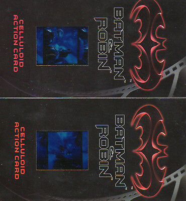 Batman & Robin Widevision - Lot of 2 different Celluloid Action Chase Cards EXC