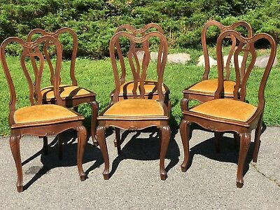 Set of Six Antique French Louis XV Dining Room Chairs Hand Carved Rococo-REDUCED