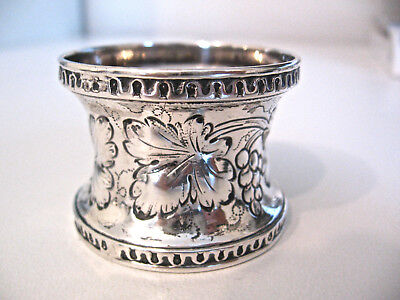 Very early ornate sterling silver napkin ring decorated w grape leaves & grapes