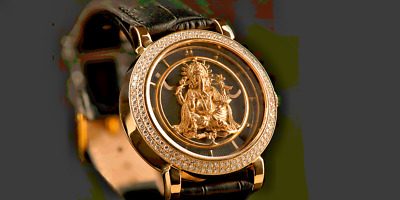 Solid 18Ct Gold Ganesha Watch Encrusted With Diamonds Design Quality At Its Best
