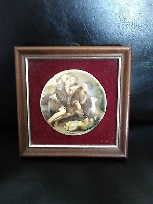 Framed pot lid Victorian scene two scamps and their dog