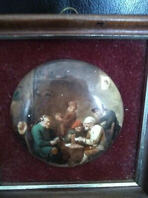 Framed pot lid Victorian scene playing cards