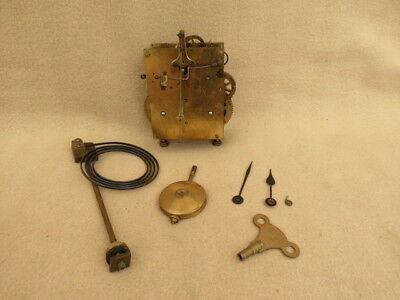Antique German Junghans B12 Striking Clock Movement Hands Pendulum Etc.