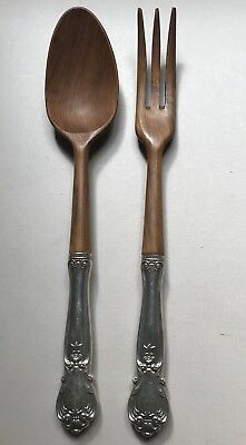 Web  Vintage Sterling Silver Handle & Wood Salad Set Ancestry Pattern 11""