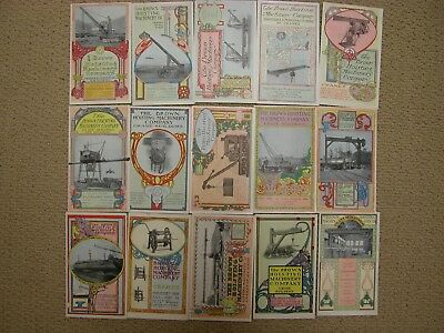 16 Brown Hoisting Machinery Trade Cards **RARE** Crane Builders