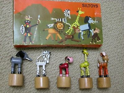 Silva Therapeutic Siltoys Africa Wood Jointed Push Up Puppet Italy MINT
