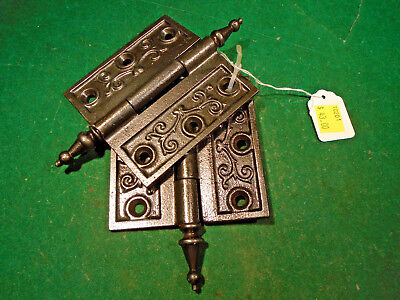 "Pair Vintage Eastlake Hinges  3 1/2""  X 3 1/2""  Steeple Top - Beautiful(10202-5)"