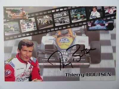 Thierry Boutsen ex-F1 signed card autograph