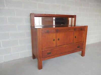"""Antique Mission Arts & Crafts Tiger Oak Sideboard Buffet by Zink Morehead 60""""W"""