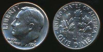 United States, 1974-D Dime, Roosevelt - Uncirculated