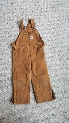 Nice Carhartt Quilt Lined Kids Youth Overalls Brown Duck Canvas Sz 5