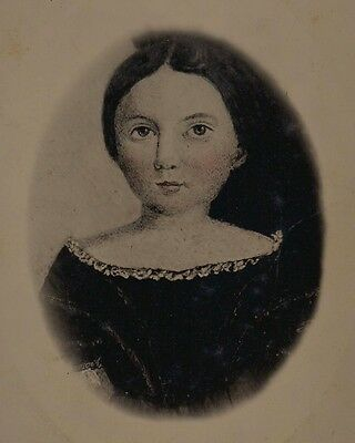 Old Vintage Antique Full Plate Tintype Photo Pretty Young Girl Folk Art Picture