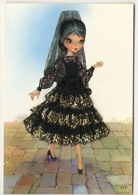 Spanish Senorita in Black LACE FABRIC and EMBROIDERY Postcard Spain by Lester