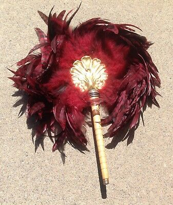 Antique Feather Fan With Wooden Handle Victorian Steampunk Vintage