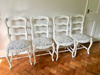 Set 4 Antique French Dining Chairs / Louis XV Style / Shabby Chic / Vintage