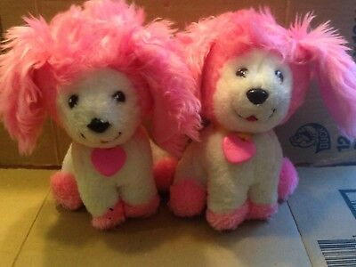 """Vintage Lot Of 2 1982 Poochie Plush puppy dog white pink 8"""" Collar Tags"""
