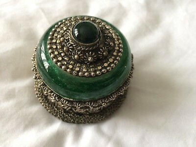 Antique Vintage Small Solid Pewter & Glass Decorative Trinket Pill Ring Box