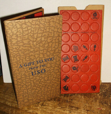 Vintage WWII US GI A Gift For You USO Checkers, Tic Tac Toe & Chess Game EX