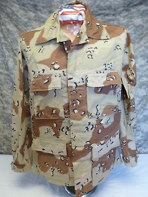 6 Color Desert Camo DCU Chocolate Chip BDU Shirt Large Regular 50/50 Washed