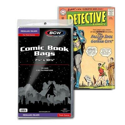 100 BCW Regular / Silver For Thick Comic Book Poly Bags 2 Mil Protectors Annuals